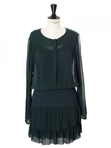 Forest green chiffon long sleeved smocked dress Retail price €260 Size 34