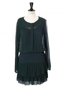 Robe à smocks manches longues en mousseline vert sapin Px boutique 260€ Taille 34
