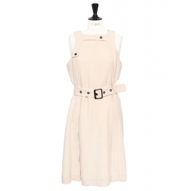 Pale pink beige crepe sleeveless dress Retail price €1200 Size 40