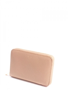 Blush pink grained leather Medium zipped around wallet Retail price €450