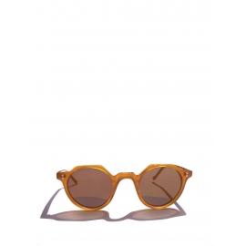 Lunettes de soleil HERI monture biseau miel verres minéraux marron camel NEUVES Prix boutique 350€