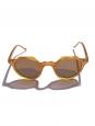 LESCA LUNETIER Lunettes de soleil HERI monture biseau miel verres minéraux marron camel NEUVES Prix boutique 230€
