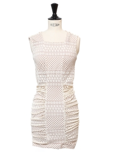 RENEE Cream white sleeveless ruched-side dress Retail price $178 Size 34