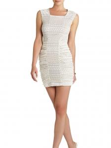Robe sans manche RENEE en crochet stretch blanc crème Prix boutique 150€ Taille 34