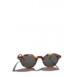 Lunettes de soleil HERI monture biseau écailles marron et miel verres minéraux gris foncé NEUVES Prix boutique 350€