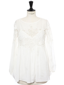 Ambroisine Audrey white cotton and lace long sleeves blouse top Retail price €256 Size S