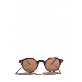 Lunettes de soleil HERI monture biseau camel verres minéraux NEUVES Prix boutique 350€