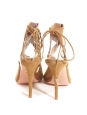 SEXY THING cut out tan brown suede leather thin heel sandals NEW Retail price €460 Size 40