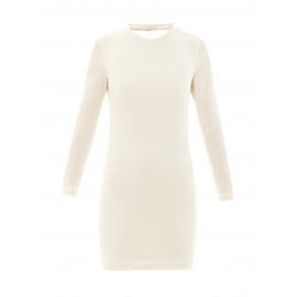 Gaia open-back leather-trimmed ivory white crepe mini dress Retail price €385 Size 38