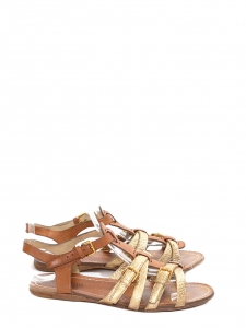 Gold metallic and tan brown leather flat gladiator sandals Retail price 450€ Size 36