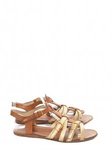 Gold metallic and tan brown leather flat gladiator sandals Retail price 450€ Size 36