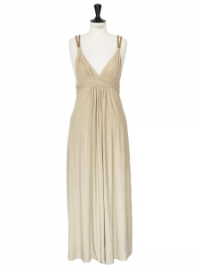 Beige jersey rope straps maxi dress Retail price €180 Size 34