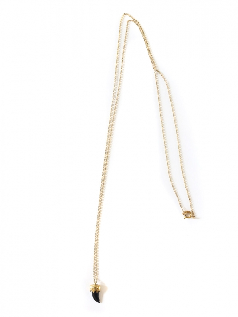 STONE Gold vermeil pendant necklace with black faux shark tooth Retail price €130