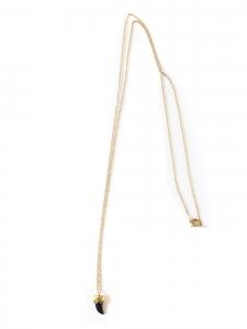 STONE Collier sautoir chaîne fine en vermeil doré et pendentif noir Prix boutique 130€