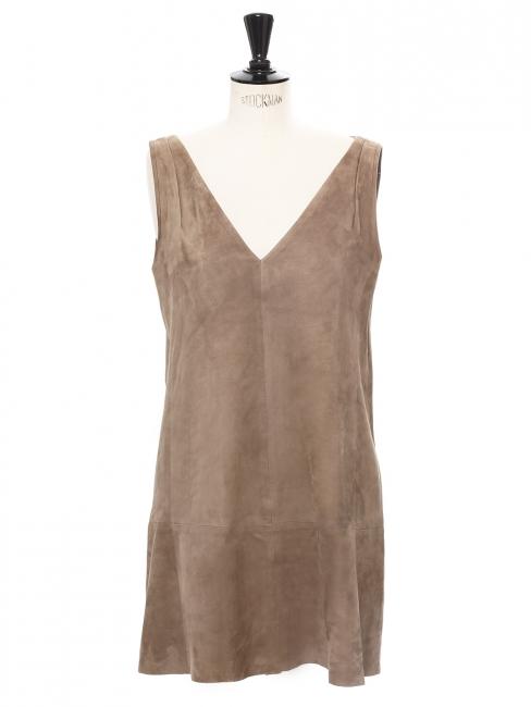 Robe courte sans manches col V en suède beige Px boutique 1395€ Taille 38