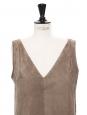 BALENCIAGA Robe courte sans manches col V en suède beige Px boutique 1395€ Taille 38
