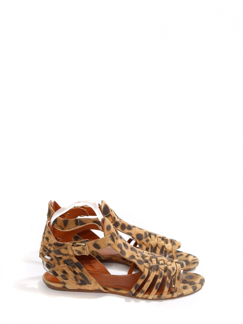 Sandales plates en suede imprimé léopard beige camel et noir Prix boutique $650 Taille 37