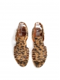 GIVENCHY Sandales plates en suede imprimé léopard beige camel et noir Prix boutique $650 Taille 37