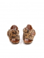 Tan brown and black leopard print suede leather flat sandals Retail price $610 Size 37