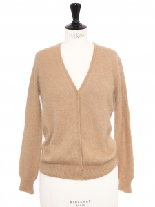 Beige camel V neck short cardigan Retail price €215 Size S