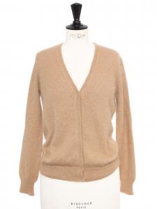 Gilet cardigan court col V en angora beige camel Px boutique 215€ Taille 36