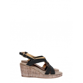 Black and beige cotton canvas wedge sandals NEW Retail price €280 Size 40