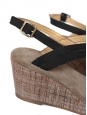 APC Black and beige cotton canvas wedge sandals NEW Retail price €280 Size 40
