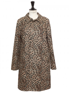 Leopard-printed cotton gabardine SOHO trench coat NEW Retail price $560 Size 38