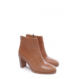 CHIC Brown leather ankle heel boots NEW Retail price 360€ Size 40