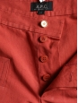 Brick red cotton and linen shorts with golden buttons NEW Retail price €115 Size 36