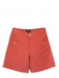 Short en coton et lin rouge brique et boutons dorés NEUF Px boutique 115€ Taille 36