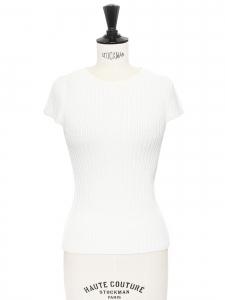 MAJE Petit top col rond en maille côtelé de coton blanc Taille XS