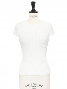 White cotton knitted short sleeves round neck top Size XS