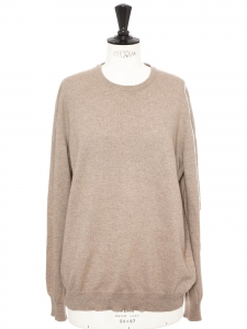 Beige cashmere round neck sweater Retail price €500 NEW Size 38 to40