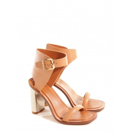 BAM BAM Nude leather ankle strap silver heeled sandals Retail price €650 Size 38.5