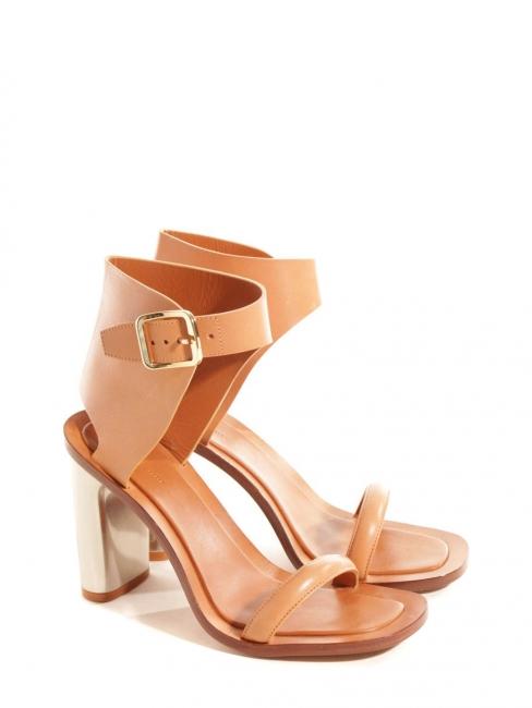 Sandales BAM BAM bride cheville large en cuir fauve et talon argent Px boutique 650€ Taille 38.5
