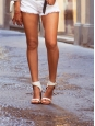 Sandales BAM BAM bride cheville large en cuir fauve et talon argent Px boutique 650€ Taille 37