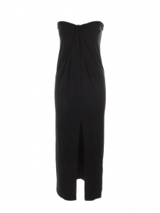 Mid-length black jersey strapless dress Retail price €900 Size S