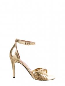 Sandales twist en cuir doré à talon et lanière cheville Prix boutique 620€ Taille 38,5