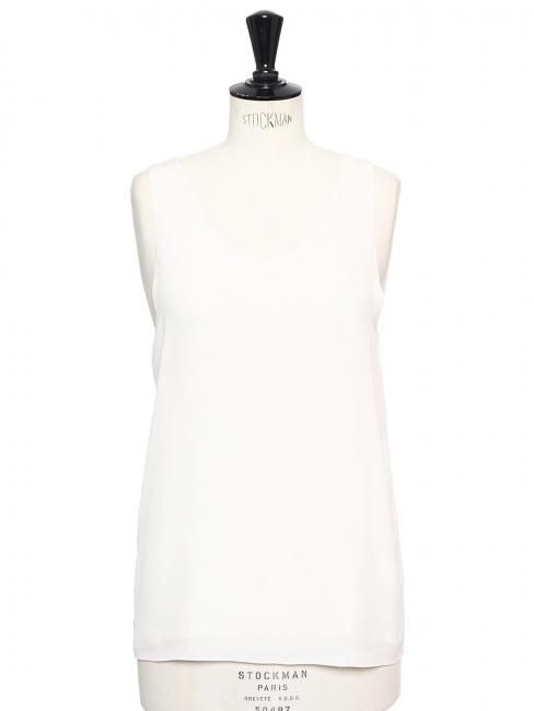 ICONIC Ivory white silk crepe tank top Retail price €390 Size 40