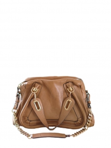 Chestnut brown calfskin leather Medium Paraty chain double carry bag Retail price €1910