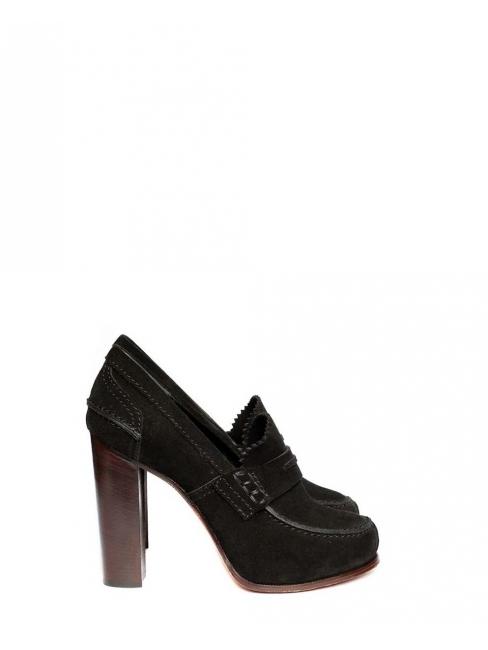 Escarpins mocassins à talon en suède noir Px boutique $950 NEUFS Taille 35,5