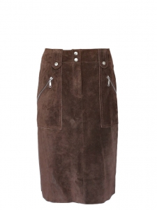 Brown suede leather high waisted skirt Retail price €1500€ Size 36