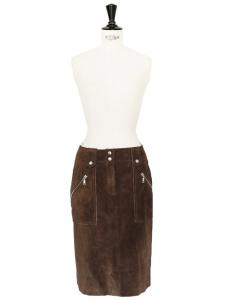 Jupe taille haute en daim marron Px boutique 1500€ Taille 36