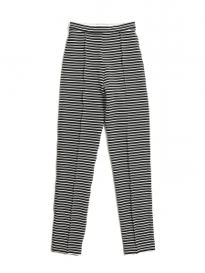 Thin black and white stripes slim fit high waist pants Retail price €215 Size XS