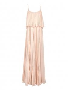 Robe longue en mousseline de soie plissée rose poudre et fines bretelles Prix boutique 800€ Taille 36