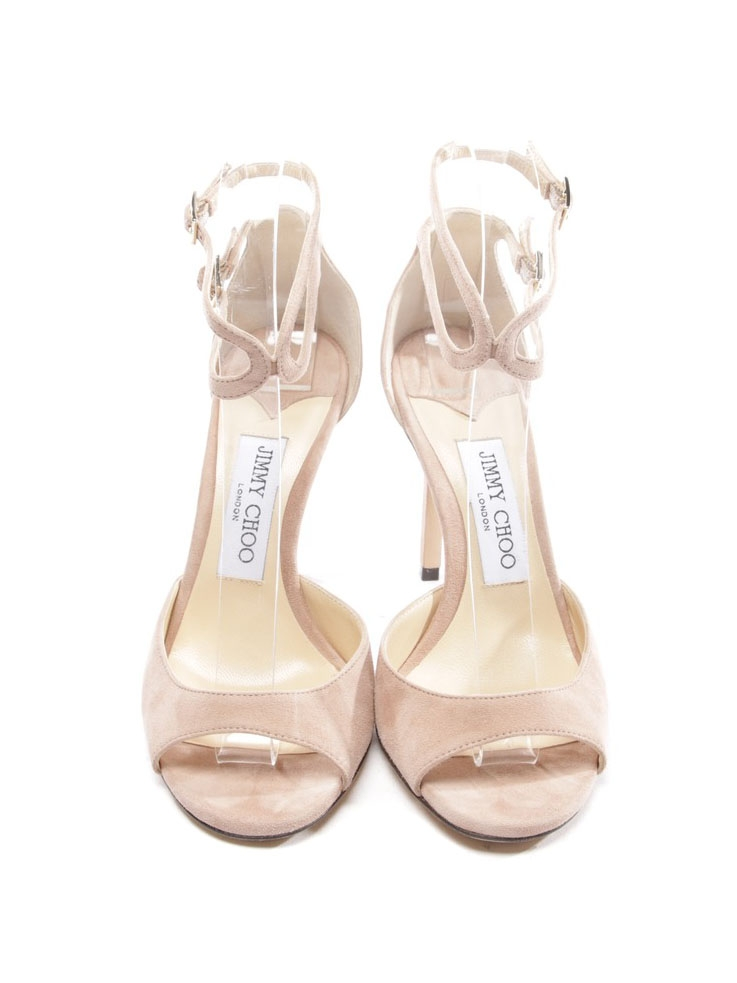 be5c1434e35170 ... JIMMY CHOO Sandales Lane à talon en suede beige rosé Px boutique 650€  Taille 36 ...