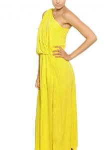 LANVIN Robe de cocktail longue drapée asymetrique jaune vif Prix boutique 1550€ Taille 38