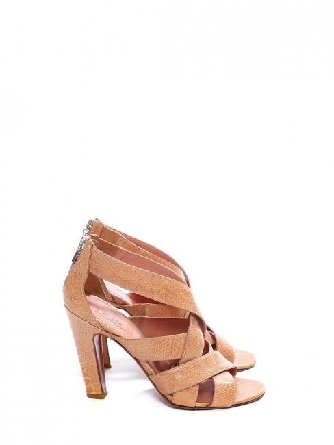 Beige pink ostrich leather high heel sandals Retail price 1100€ Size 37.5