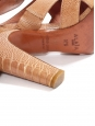 Nude ostrich leather high heel sandals Retail price 1100€ Size 37.5